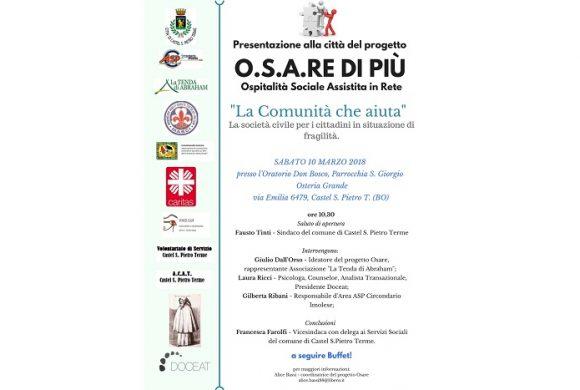 """Progetto """"O.S.A.RE DI PIÙ"""" di ospitalità sociale assistita in rete"""